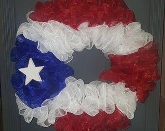 Puerto Rican Flag Mesh Wreaths