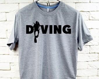 Scuba Dive Diver Diving Gray T-Shirt For Men