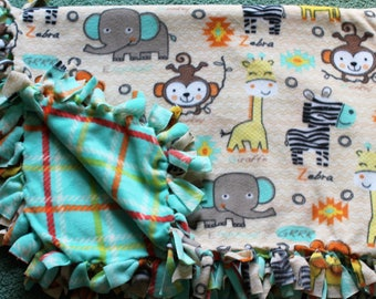 Zoo Theme Tied Fleece Blanket Toddler Child Teen Adult Throw Warm Blanket Handmade