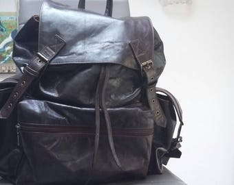 Solid brown genuine leather backpack