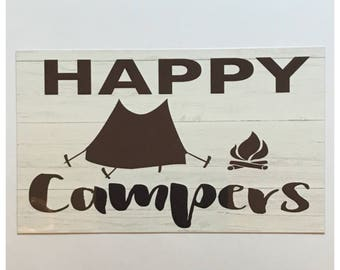 Happy Campers Sign Wall Hanging Camping Plaques Tent Fire