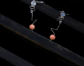 Drops Series No.6 Angel Skin Coral and Moonstone earrings; Handcraft, Sterling Silver