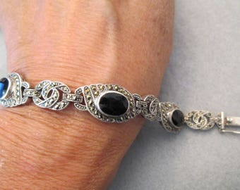 """Vintage Sterling, Black Onyx, & Marcasite Link Bracelet>> Exquisite>>New old stock, never worn>> 7"""" long> well made!"""