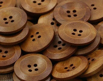 "10 Wood Brown Buttons, 4 hole buttons, 25mm wood buttons, coffee color buttons, Round Sewing Wood Buttons 25mm (1"")"