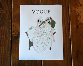 Vogue Watercolor Fashion Art Print - Lady With Fan - Letter Size