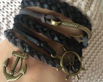 Black & Gray Bracelet, braided bracelet, wrap bracelet, leather bracelet, handmade