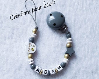 "Boy personalized pacifier clip with wooden beads ""I love Mommy / I love Daddy"""