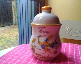 """Flour Container-  French vintage lidded pot """"Farine"""""""