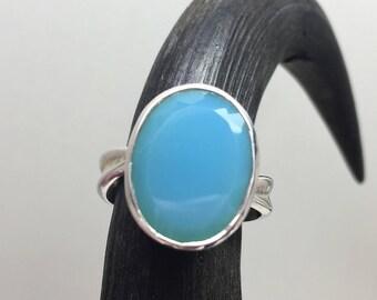 Sterling Silver Ring with big Blue Chalcedony  Stone / gemstone ring / natural untreated stone