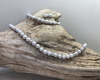 Grey Fresh-Water Pearl Jewelry set with sterling silver beads. Necklace, bracelet and matching ear-studs