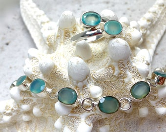 Sterling Silver with aqua blue Chalcedony Bracelet and matching adjustable Ring