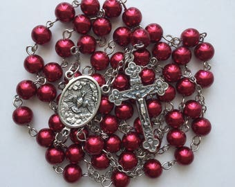 Deep Red Beaded Rosary
