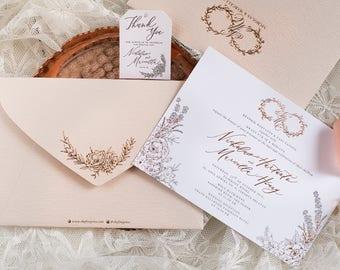 Letterpress Wedding Invitation Sample - Gold Foil, Grey, 100% Cotton paper, Thank You Tag, Textured Envelope
