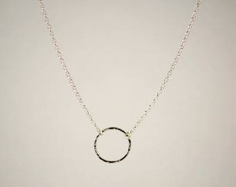 Round Silver Necklace, Circle Sterling Silver Necklace, Circle hammered Necklace, Silver Eternity Necklace, Minimalist Silver Necklace