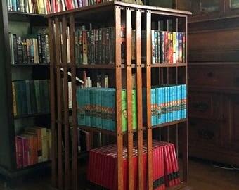 1880s Bookcase, Rotating Bookshelf, Quartersawn Oak Wood, Victorian Furniture