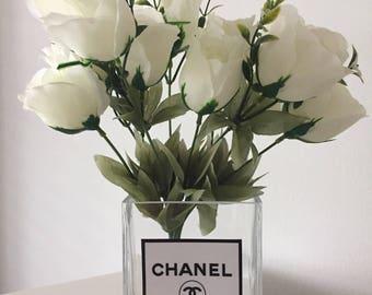 Designer Glass Vase with Flowers
