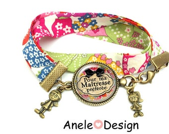Bracelet teacher gift - for my favorite teacher! -boy girl heart cabochon pink green blue yellow school year end gift idea
