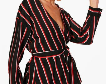 Rachel Stripe Plunge Tie Front Shirt