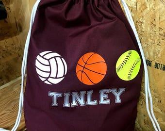 Sport drawstring bag | **FREE SHIPPING** | PE bag | Volleyball | Softball | Basketball | birthday gift | Christmas gift | Back to School