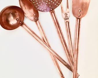 Copper ustenils set | Vintage ustensils | Antique ustensils
