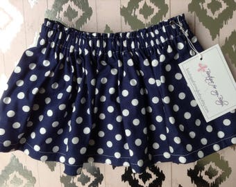 Baby Skirt / Girl Skirt / Toddler Skirt / Girl clothes / Baby Girl skirt / Baby Girl Outfit / Girl Outfit/ Navy skirt / Polka dot baby skirt