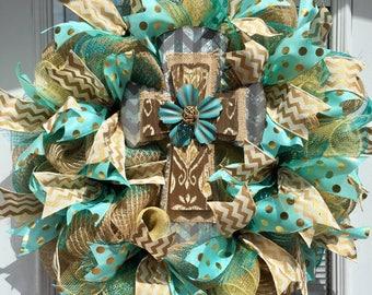 Burlap Wreath, Deco mesh wreath, Rustic wreath, cross wreath, Burlap Cross Deco Mesh Wreath, Rustic Wreath, Summer Wreath, Everyday Wreath.