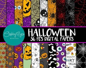 Halloween Digital Papers,  Halloween Scrapbook Papers, Glitter Papers, Pumpkin, Ghost, Spooky Papers -Instant Download