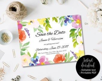 Save the Date Wedding Template, Wedding Printable Save the Date Invite, DIY Save Date, Editable Save Date PDF, Watercolor Border 3  SAVE-3
