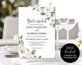 White Green Floral Wedding Invitation, Editable Wedding Invite, Wedding Invite Printable, Wedding Template Download, Invitations Wedding PDF