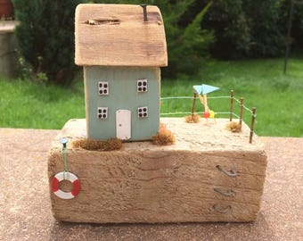 Handmade wooden cottage, collectable, gift, rustic, shabby, unique.