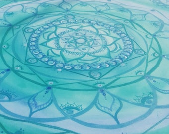 Picture of Mandala. Handmade. Drawn and painted by hand. Design
