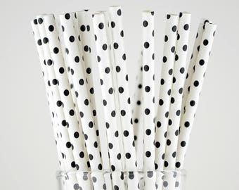 Black Dots Paper Straws - Party Decor Supply - Cake Pop Sticks - Party Favor