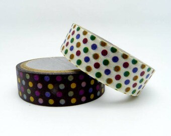 Set of 2 Rolls Colorful Polka Dots Washi Tape - 15mm x 5m - Gift Wrapping - Decorative Tape - Scrapbooking Sticker