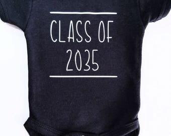 Class of 2035 baby onesie, newborn graduation year, baby grad, baby graduation clothing, back to school clothing
