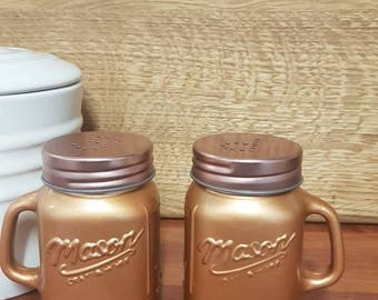 Mason Jar Copper/Black/White Salt & Pepper Shakers/Kitchen/Dining