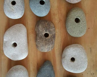 Pebbles lucky dip 10 pre drilled pebbles middle or top 4mm holes mixed colours sizes textures