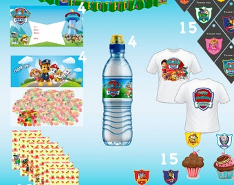 Paw Patrol Set birthday-Digital,Bottle Labels-Digital, PNG, Banner,300DPI,Food Labels,Thank You Tags,Cupcake Toppers, Invitation,Bag Topper,