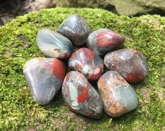 "Bloodstone tumbled stones crystals - .9"" - 1.3"""