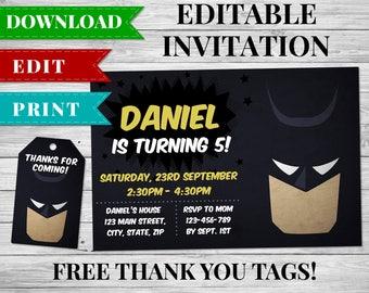 Batman Invitation, Batman Movie, Superhero Birthday Party Invitation, DC Comics Invitation, Batman Thank You Cards