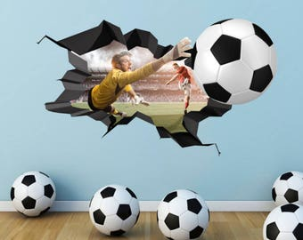 3D Football Wall Decal Cracked Full Colour Wall Art Sticker Footballer Boy  Girls Bedroom Decal Mural Part 48