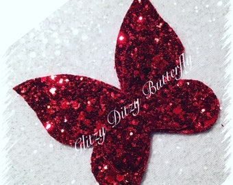 Glitter Red Butterfly Bow