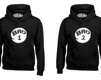 Couple Hoodies Bro 1 and Bro 2 One Funny humours Matching Hoodies