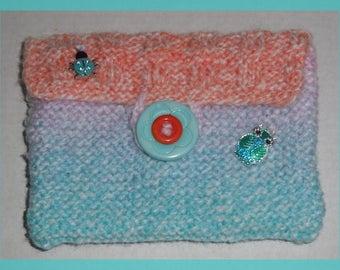 Wallet Purse Minibag Cover Card holder in wool blue orange color