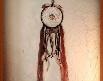 Dreamcatcher, girl child woman boy, fancy original, brown autumn tones, with feather ribbon cord