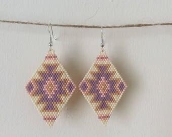 Summer Dream Beaded Earrings, Seed Bead Earrings, Native American Earrings, BOHO, Bohemian, Ethnic