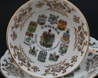 "PARAGON Fine Bone China Teacup and Saucer Set ""Canada"""