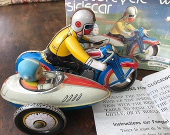 Motorcycle with Sidecar Vintage Tin Toy Collectible - Clockwork MS 709- with box and original instructions!