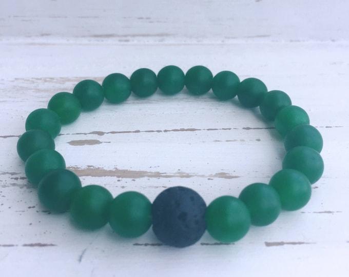 Black Lava Rock and Green Jade Beaded Diffuser Bracelet for Essential Oils