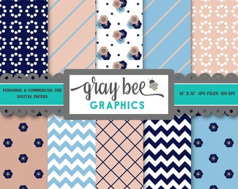 SALE- Navy & Peach Floral- Digital Papers, Scrapbook Papers, Patterns, Backgrounds, Commercial Use, Instant Download-DP203