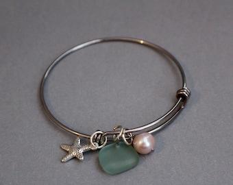 Adjustable starfish charm bracelet- bangle bracelet